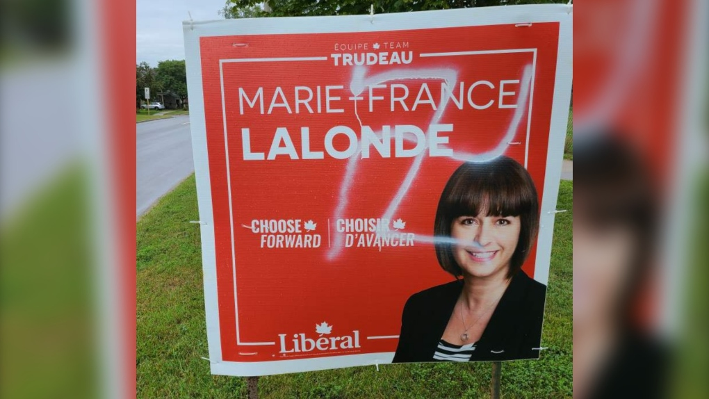 Marie-France Lalonde sign swastika