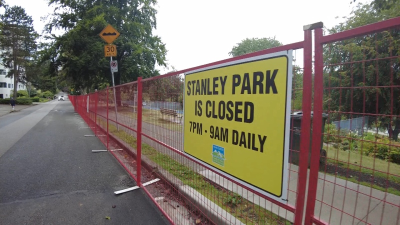 Fences around Stanley Park in September 2021 as conservation officers trap and kill dozens of coyotes.