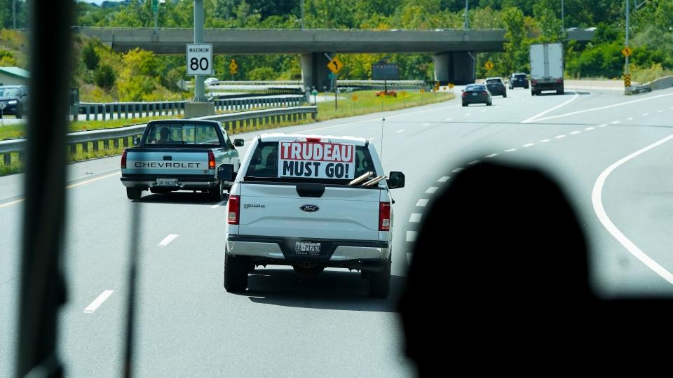 Anti Trudeau sign on truck
