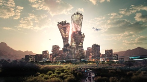 """Equitism tower, Telosa's central skyscraper, is described as a """"beacon for the City."""" (Bjarke Ingels Group and Bucharest Studio)"""