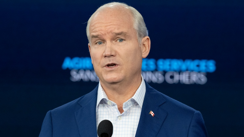 Conservative Leader Erin O'Toole speaks to the media in Ottawa on Tuesday September 7, 2021. Canadians will vote in a federal election Sept. 20th. THE CANADIAN PRESS/Frank Gunn