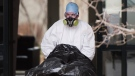 A body is removed from Maison Herron, a long term care home in the Montreal suburb of Dorval, Que., on Saturday, April 11, 2020, as COVID-19 cases rise in Canada and around the world. THE CANADIAN PRESS/Graham Hughes