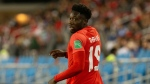 Canada's Alphonso Davies is seen during first half World Cup qualifying action against Honduras in Toronto on Thursday, September 2, 2021. THE CANADIAN PRESS/Chris Young