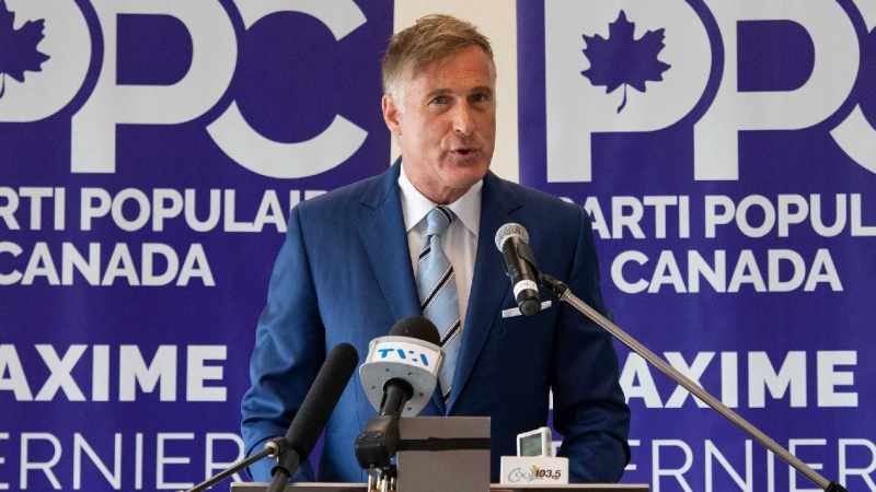 People's Party of Canada Leader Maxime Bernier launches his campaign during a press conference at a hotel in Saint-Georges, Que., Friday, Aug. 20, 2021. THE CANADIAN PRESS/Jacques Boissinot