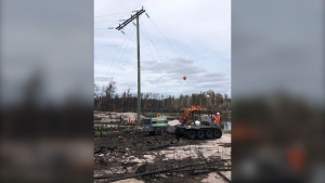 Rock drilling at Pigeon River to set new poles.  (Source: Manitoba Hydro)