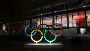 The Olympics rings stand outside the Narita International Airport near Tokyo, on July 10, 2021. (Jae C. Hong / AP)
