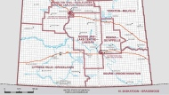 Saskatchewan's southern federal electoral districts. (Source: Elections Canada)