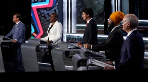 Bloc Quebecois Leader Yves-Francois Blanchet, left to right, Green Party Leader Annamie Paul, Liberal Leader Justin Trudeau, NDP Leader Jagmeet Singh, and Conservative Leader Erin O'Toole take part in the federal election English-language Leaders debate in Gatineau, Que., on Thursday, Sept. 9, 2021. THE CANADIAN PRESS/Adrian Wyld