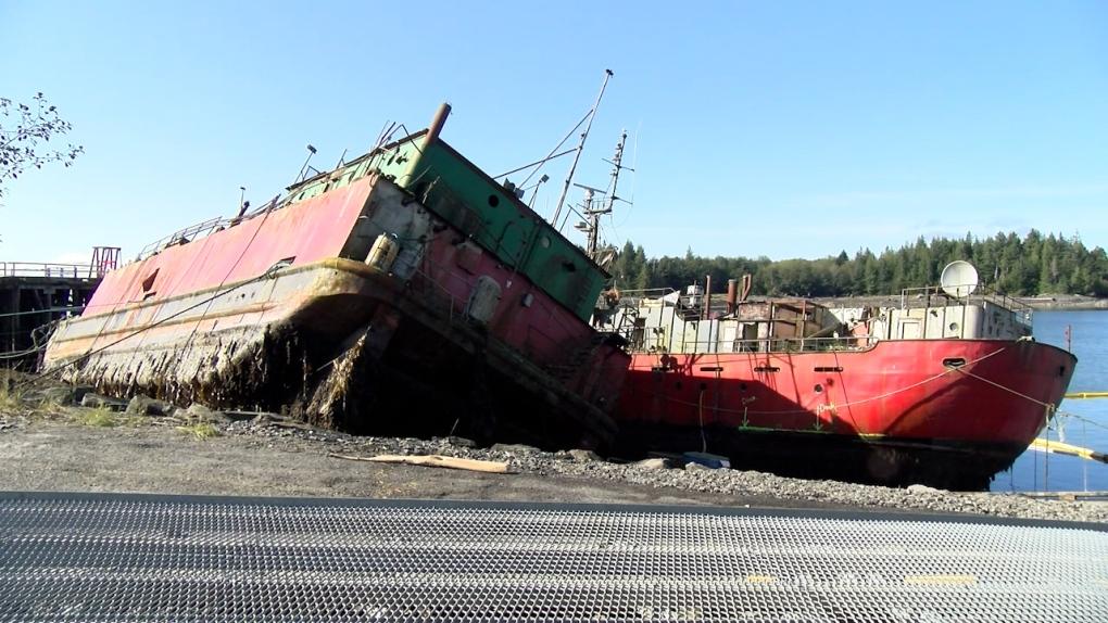 Port Edward beached boat