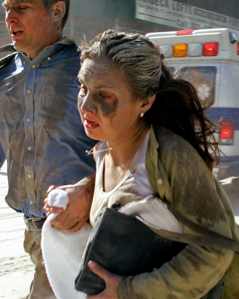 People flee the scene near the World Trade Center