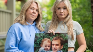 Kimmy Chedel, left, and daughter Zoe Doyle pose with a photograph of their husband/father, Frank Doyle and Zoe, at their home in Montreal, Thursday, Aug. 26, 2021. Zoe, who was two years old when her father died on 9/11, say she's been able to get to know him through their mother's valiant efforts over the years. THE CANADIAN PRESS/Graham Hughes