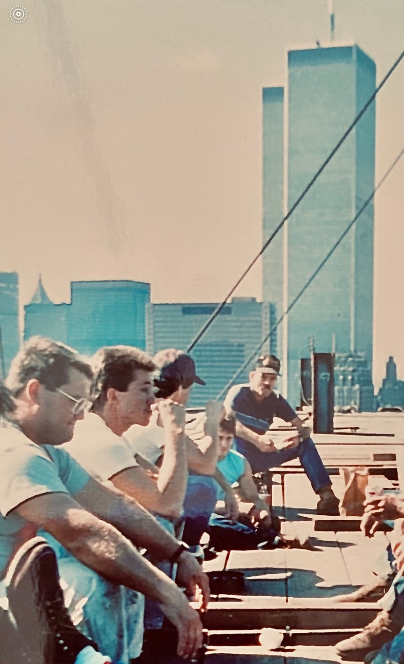 Ironworkers take lunch under the Twin Towers
