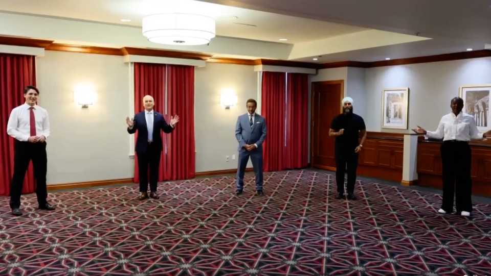 Federal party leaders in a video