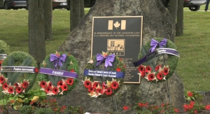 Wreaths lay in front of Canada's September 11 monument in Beechwood Cemetery (Colton Praill / CTV News Ottawa)