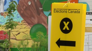 An Elections Canada sign at an advance polling station in Ottawa. Sept. 11, 2021. (Jeremie Charron / CTV News Ottawa)