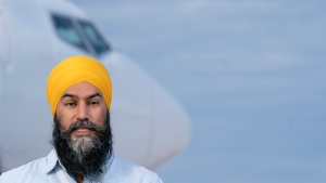 NDP leader Jagmeet Singh speaks in Sioux Lookout, Ont., Monday, September 13, 2021. THE CANADIAN PRESS/Jonathan Hayward