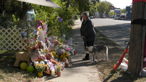 A memorial for Baeleigh Emily Maurice is pictured Sept. 13, 2021. (Tyler Barrow/CTV Saskatoon)