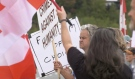 It was a scene that hospital officials, politicians and members of the city were disheartened to see: dozens of protestors gathered outside of Health Sciences North on Monday. (Alana Pickrell/CTV News)