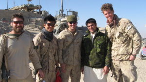 Tyson Martin (left) and Abdul Hakim Azizi (second from right) served in Afghanistan in 2010. (Supplied photos / Abdul Hakim Azizi)
