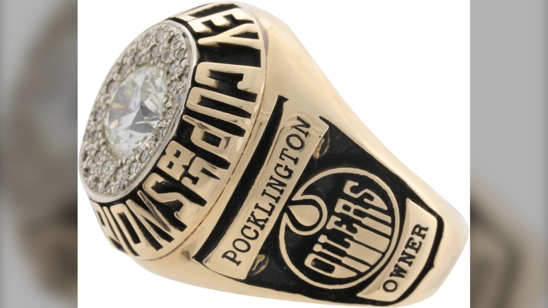 Peter Pocklington's 1985 Stanley Cup ring is up for auction until Sept. 25 (Source: Lelands)