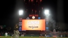 Fireworks go off behind the scoreboard at Oracle Park after the San Francisco Giants defeated the San Diego Padres to clinch a postseason berth, on Sept. 13, 2021. (Jeff Chiu / AP)