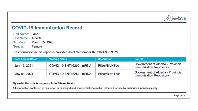 Alberta's immunization will be accessible as a printable card starting Sept. 16, 2021.