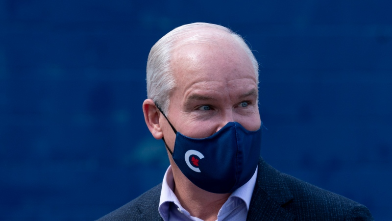 Conservative leader Erin O'Toole is seen during a campaign stop on Tuesday, September 14, 2021 in Russell, Ontario. THE CANADIAN PRESS/Adrian Wyld