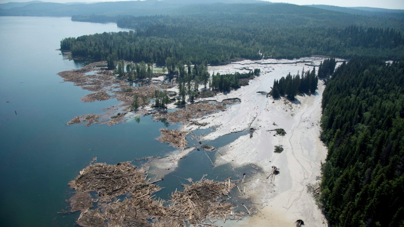 A aerial view shows the debris going into Quesnel Lake caused by a tailings pond dam breach near the town of Likely, B.C. Tuesday, Aug., 5, 2014. (Jonathan Hayward  / THE CANADIAN PRESS)