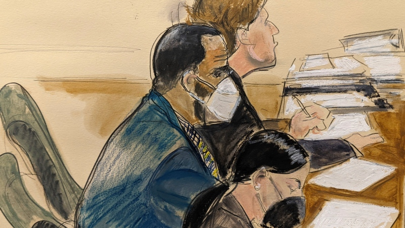 In this courtroom artist's sketch R. Kelly, left, listens during his trial in New York, Thursday, Aug. 26, 2021. (AP Photo/Elizabeth Williams)