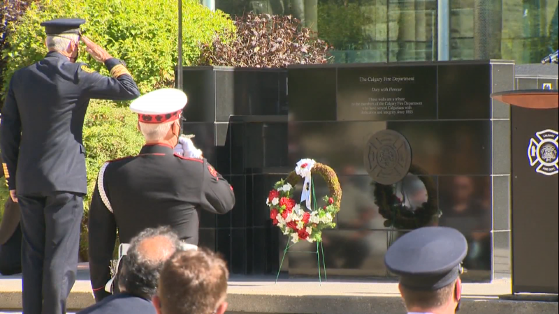 A service is held in Calgary to commemorate the city's fallen firefighters. (CTV Calgary)