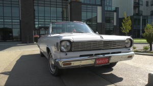 Gord Gieni's 1967 AMC Rambler American Rouge. A rare vehicle, with only 921 manufactured with its specific engine and trim options. (David Prisciak/CTV News)