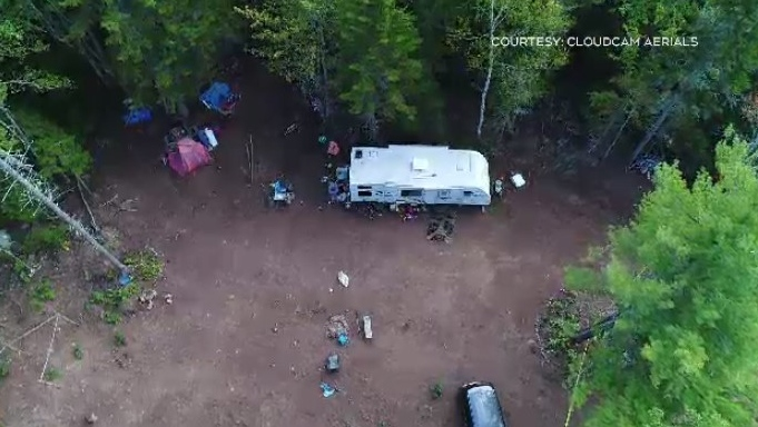 Drone footage from the scene in Millvale, N.S. offers little insight, with no obvious damage to the newer model travel trailer, children's bikes and other items outside. (Photo courtesy: CloudCam Aerials)