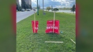 Prince Albert Liberal candidate Estelle Hjertaas says her signs have been damaged and stolen. (Courtesy Dale Hjertaas)