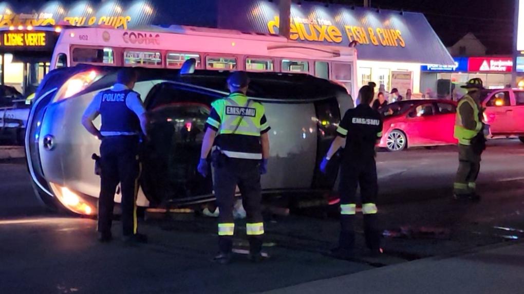 Three-vehicle collision