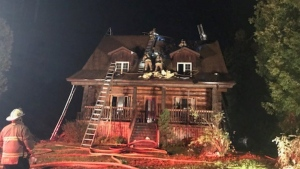 Ottawa firefighters battle a blaze at a home on Iveson Drive. Wed., Sept. 15, 2021. (Photo courtesy of Ottawa Fire Services)
