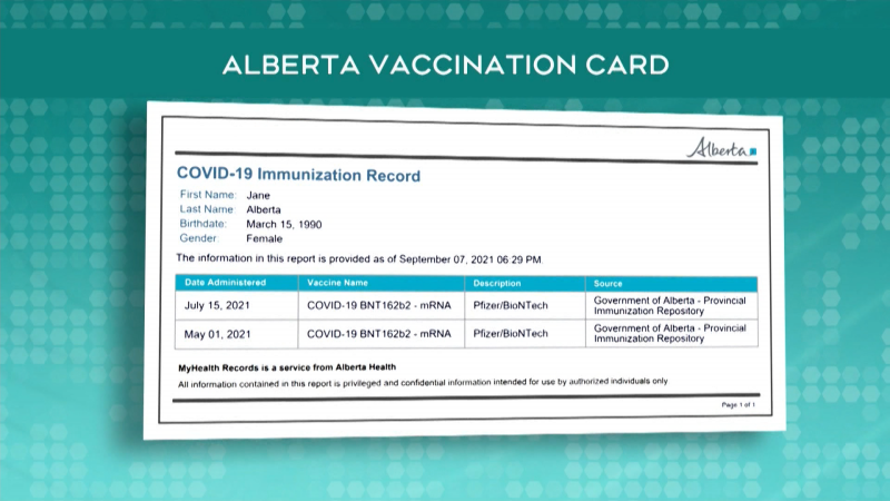Example Alberta vaccine status card. (Provided by the Government of Alberta.)