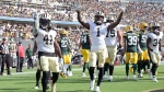 New Orleans Saints celebrate a touchdown against the Green Bay Packers in Jacksonville, Fla., on Sept. 12, 2021. (Phelan M. Ebenhack / AP)
