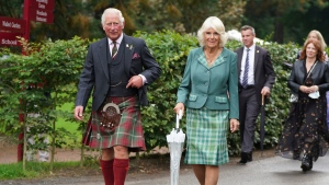 Prince Charles and Camilla, the Duchess of Cornwall, known as the Duke and Duchess of Rothesay when in Scotland, visit Dumfries House in Ayrshire, Scotland, Thursday Sept. 9, 2021. (Andrew Milligan/PA via AP)