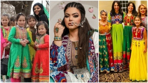 Afghans in Canada and around the world are posing in colourful traditional dresses online to hit back against the Taliban's new clothing requirements for women in schools. (Mina Sharif, Neelo Mansuri, and Dr. Fatima Kakkar)