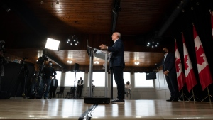 Conservative leader Erin O'Toole speaks during a campaign stop Wednesday, September 15, 2021 in Jonquiere, Que. THE CANADIAN PRESS/Adrian Wyld