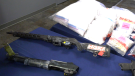 Firearms and drugs seized by police during a recent investigation (CTV News Photo Glenn Pismenny)