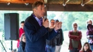 People's Party of Canada leader Maxime Bernier speaks during a rally held in Vegreville Alta., on Sunday September 12, 2021. THE CANADIAN PRESS/Jason Franson