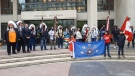 Ceremonial flag raising at Winnipeg City Hall puts Dakota First Nations, Treaty One First Nations and Metis Nation flags on permanent display, Sept. 15 (Dan Timmerman, CTV News)