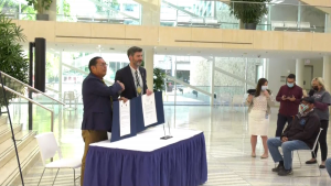 The City of Edmonton signed a pair of agreements with First Nations on Wednesday, Sept. 15, 2021. (CTV News Edmonton)