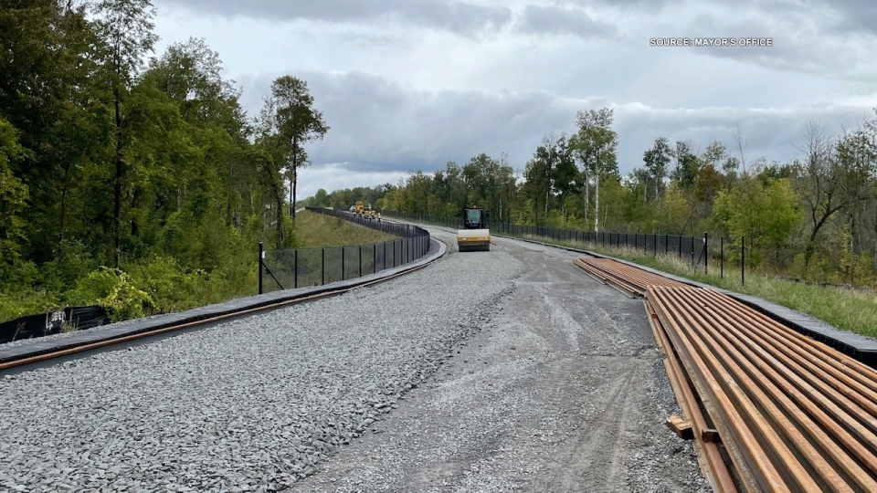 Tracks are being placed along the route for Stage 2 of Ottawa's Light Rail Transit project.