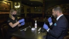 Amanda Schmidt and Peter Chase doing a test at the Bier Markt. (Peter Szperling/CTV News Ottawa)