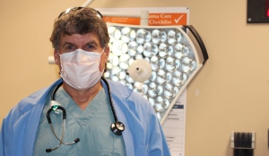 When asked to describe caring for patients in the emergency room during the pandemic in one word, Sudbury ER Dr. Rob Lepage got emotional and simply said 'challenging.' (Lyndsay Aelick/CTV News)