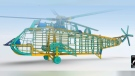 A model of the Sea King helicopter is shown: (Artificial Reef Society of British Columbia)