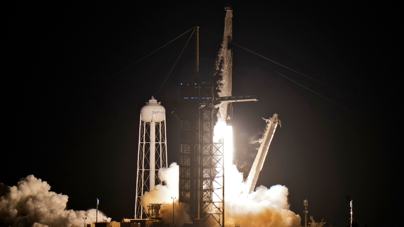 A SpaceX Falcon 9, with four private citizens onboard, lifts off from Kennedy Space Center's Launch Pad 39-A Wednesday, Sept. 15, 2021, in Cape Canaveral , Fla. (AP Photo/Chris O'Meara)