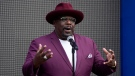 Cedric the Entertainer, host of Sunday's 73rd Primetime Emmy Awards, addresses the media during the show's Press Preview Day, Sept. 14, 2021, at the Television Academy in Los Angeles. (AP Photo/Chris Pizzello)